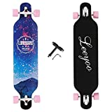 Longboard Skateboard, 41 Inch 8 Layer Natural Maple Drop Through Longboards for...