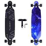FLAGAV 41Inch Longboard,8 Layer Maple Long Skateboard Complete Cruiser,Free-Style,Downhill and Carving. (Starry Sky)