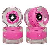 FREEDARE Skateboard Wheels with Bearings 60mm Longboard Wheels LED Cruiser Wheels (Clear Pink,Set of 4)