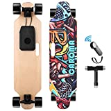 Caroma 36' Electric Skateboard with Wireless Remote Control, 700W Dual Motor E-Skateboard, 20 MPH Max Speed, 15 Miles Range, 8 Layer Maple Deck, 300lbs Max Load Longboard for Adults, Teens