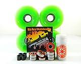 Big Boy 70mm Gel Solid Skateboard Wheels + ABEC 7 Bearings Spacers (Solid Green)