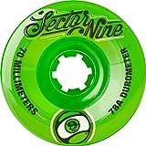 Sector 9 Top Shelf Nine Balls Skateboard Wheel, Green, 70mm 78A (Pack of 4)