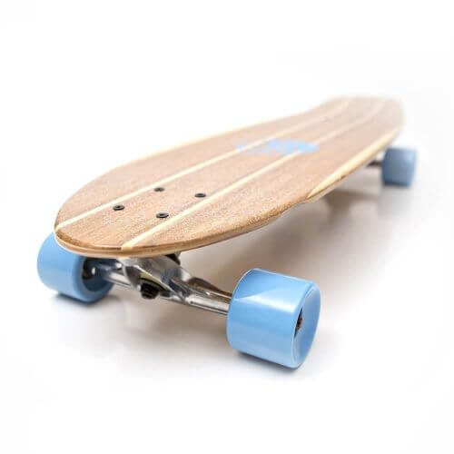 white wave bamboo longboard with concave and large kicktail