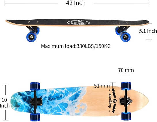 Seething Longboard Size & Weight Chart